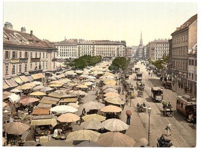 Bečka pijaca krajem 19. veka. Austrija, Austrougarska (Nasch Market)