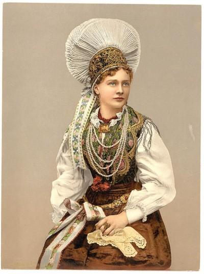Devojka iz Kranjske, Slovenija (Carniola, Austrougarska), kraj XIX v.
