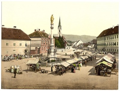 Stari Zagreb. Stup svete Marije, Hrvatska / Austrougarska 1890-1900