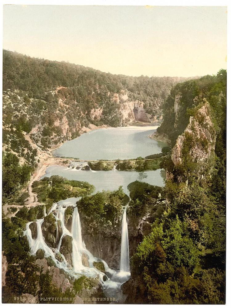 Pogled na Plitvička jezera, Hrvatska / Austrougarska (1890)