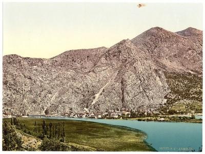 Pogled na Omiš (Almissa), Dalmacija, Austrougarska krajem 19. veka