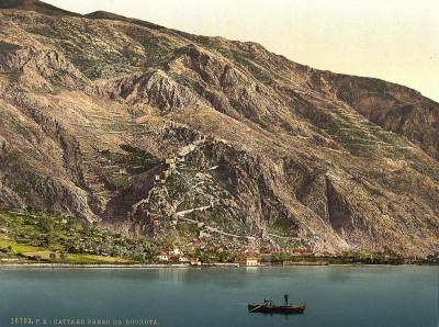 Kotor (Cattaro), pogled iz Dobrote oko godine1890. Crna Gora