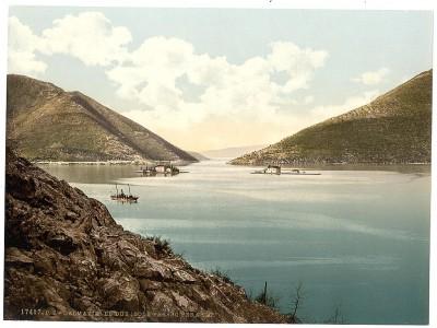 Perast, pogled na dva ostrva. Dalmacija 1890-1900. Crna Gora