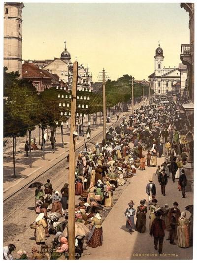 Ulična pijaca u Debrecinu krajem 19. veka, Mađarska, Austrougarska