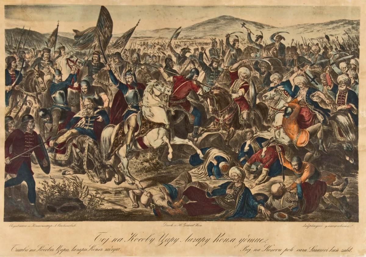 Boj na Kosovu: Caru Lazaru konja ubiše. Adam Stefanović 1875