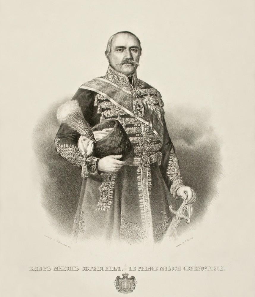 Knez Miloš Obrenović - litografija Anastasa Jovanovića 1852