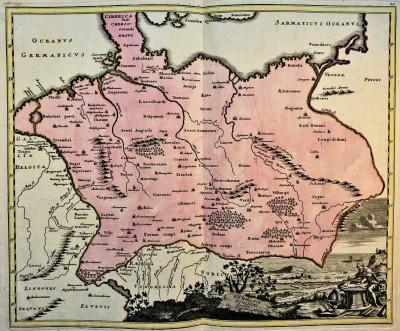 Karta Germanije prema Ptolomeju. Nirnberg 1718