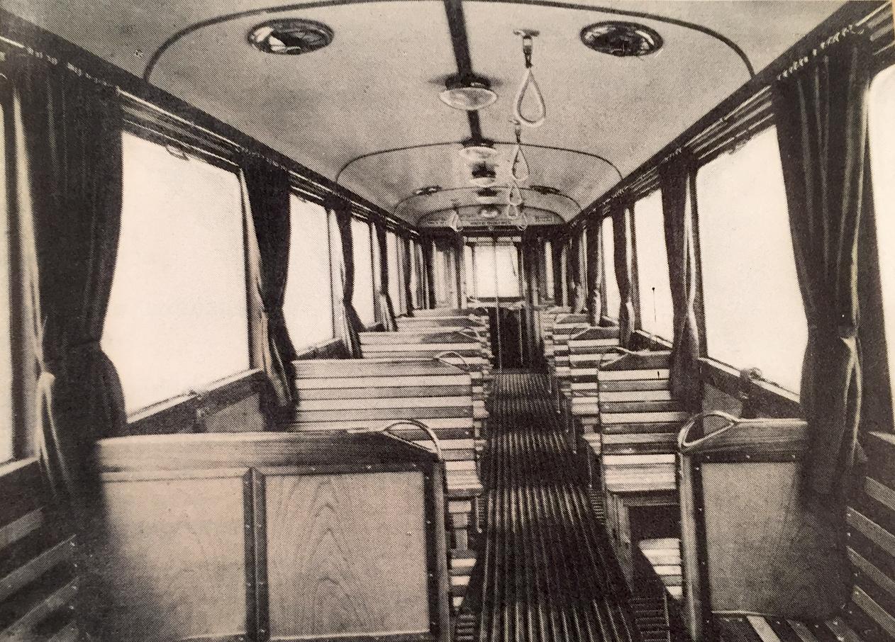 Unutrašnji izgled novih beogradskih tramvaja 1936. godine