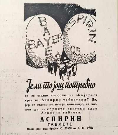 Reklama za Aspirin tablete iz 1938. Bayer, kraljevina Jugoslavija
