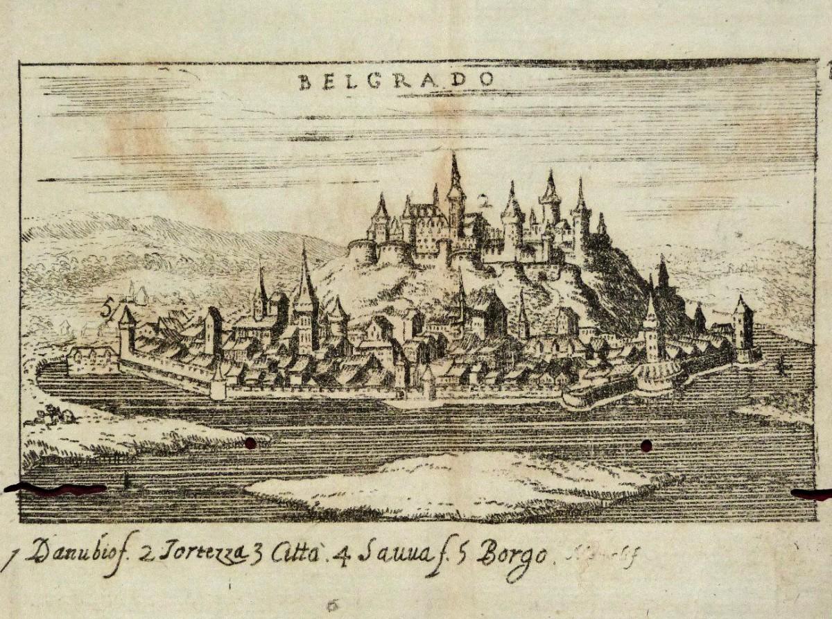 Belgrado / Beograd, prikaz s kraja XVII veka.
