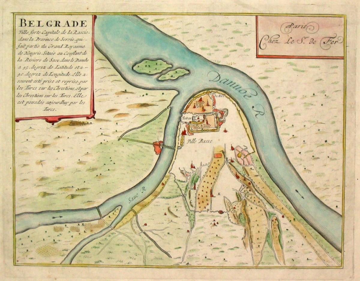 Karta Beograda iz 1695. god. (kolor varijanta). Nicolas de Fer