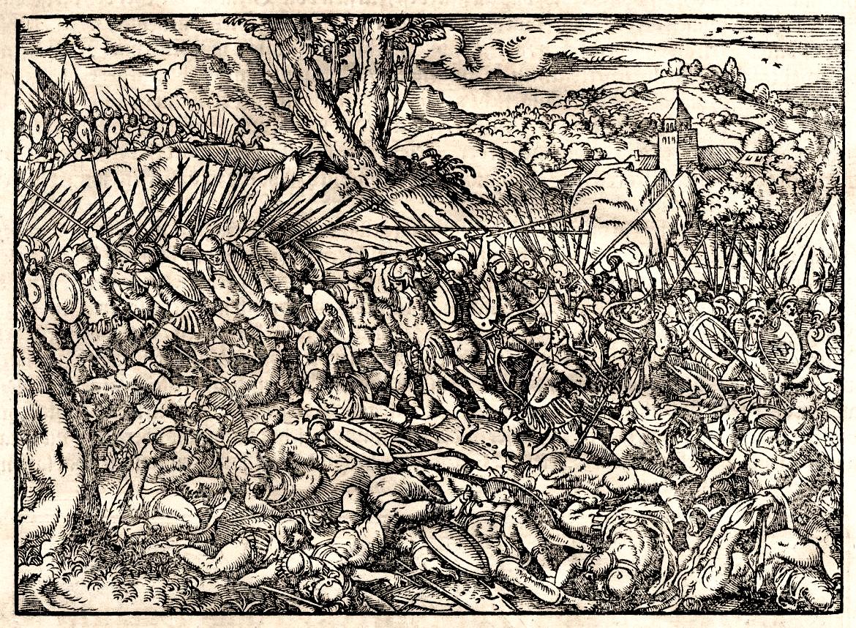 Srednjovekovna bitka - gravira iz Turske hronike (1577)