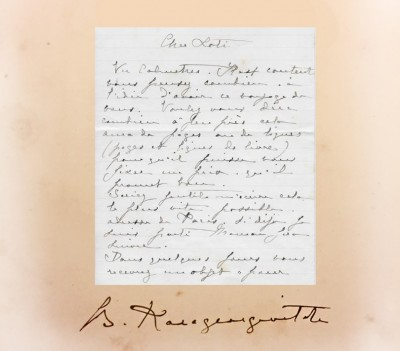 Potpis princa Božidara Karađorđevića iz 1897. i njegovo pismo Pjer Lotiju iz 1894. god.