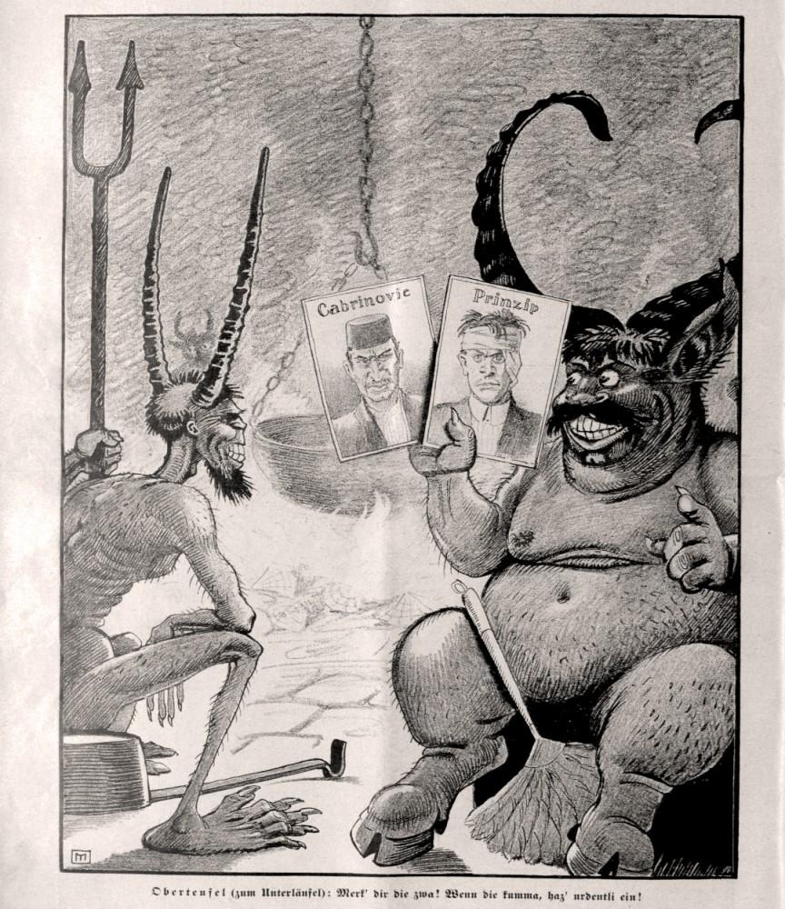 Sarajevski atentat: Nedeljko Cabrinovic i Gavrilo Princip u karikaturi iz austrijskih novina, 12. jul 1914.