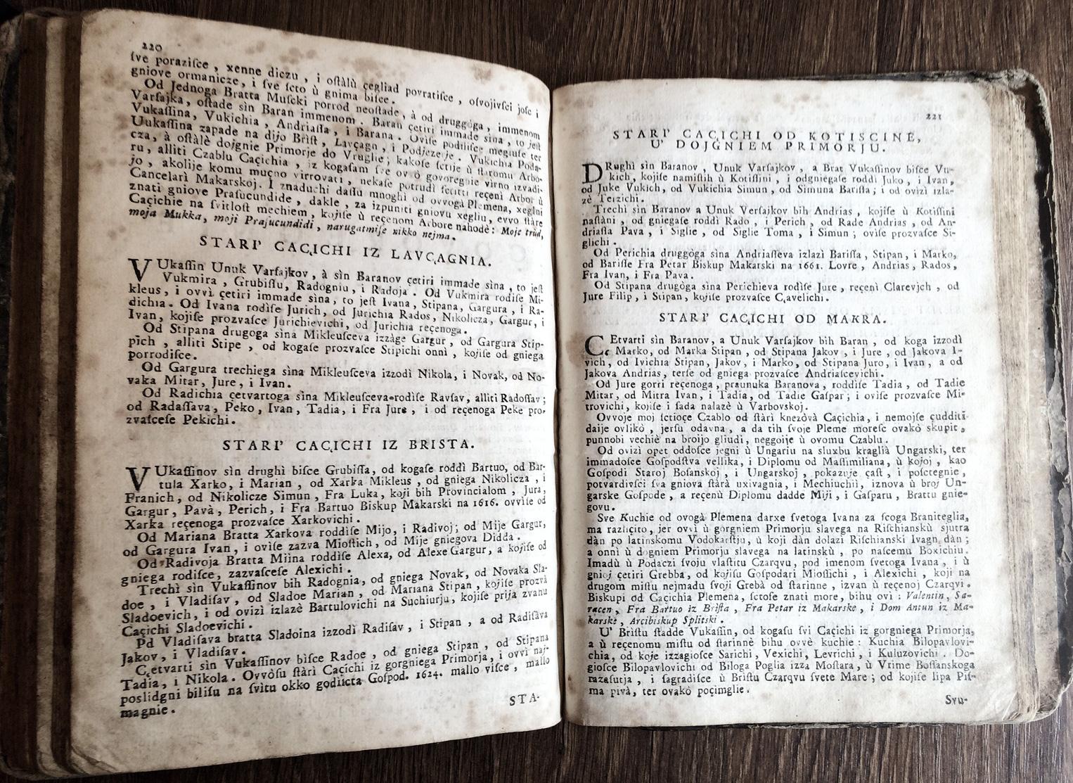 Genealogija porodice Kačić (Cacich) iz knjige : Razgovor ugodni naroda slovinskoga 1759