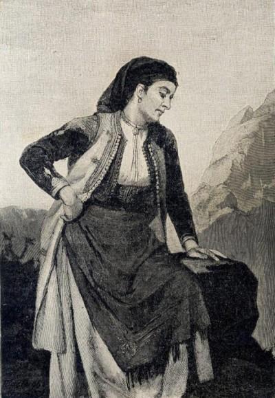 Crnogorka, slikao Đ. Vaštag. Ilustracija iz 1900. god.