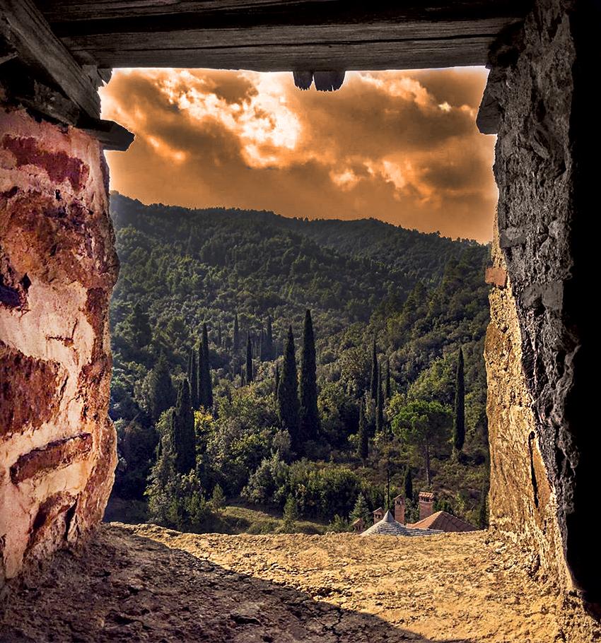 Pogled iz hilandarskog pirga na šume Svete gore