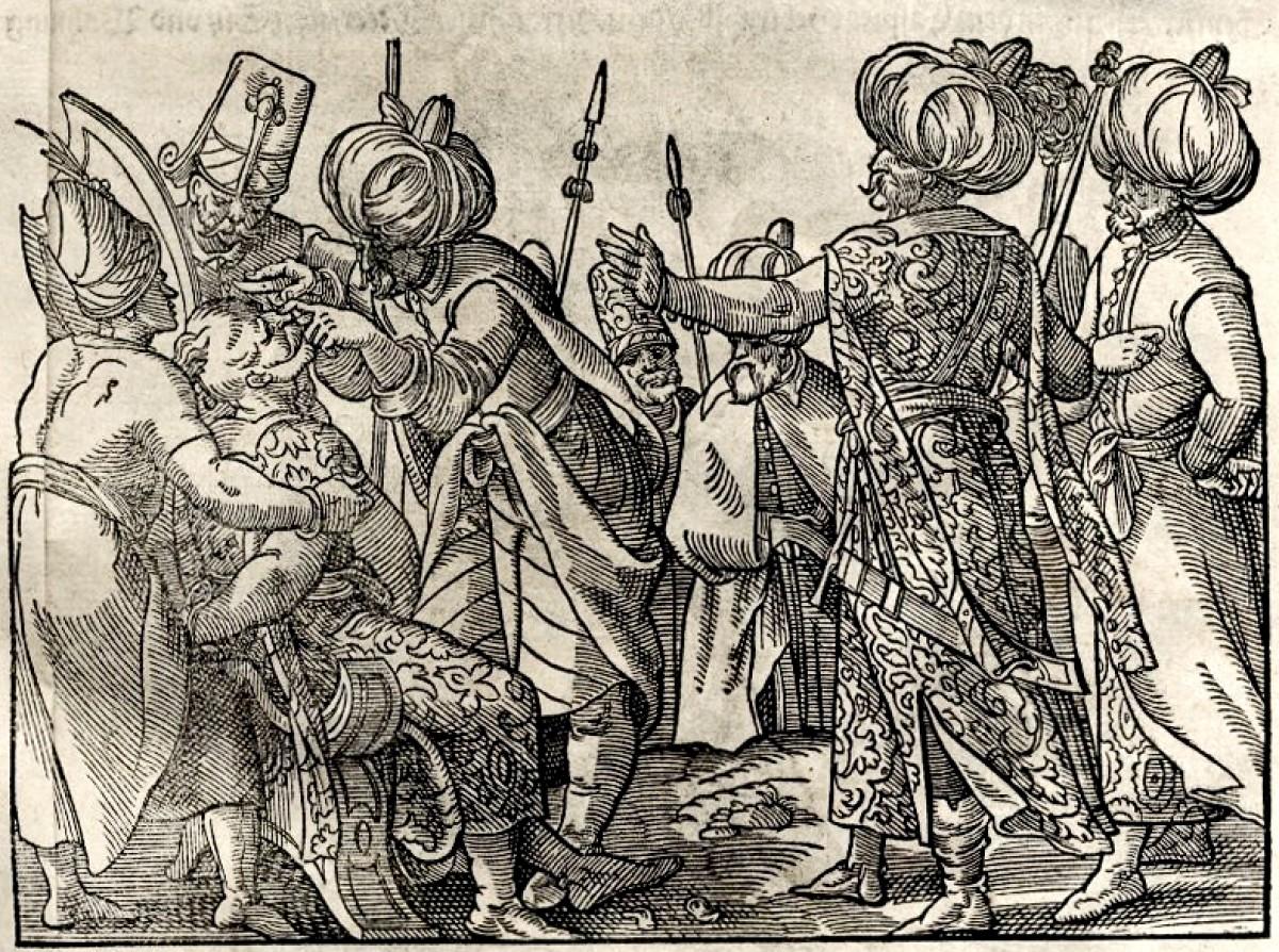 Trojica Turaka i dvojica janičara seku lice čoveku vezanom za stolicu. Ilustracija iz Turske hronike, Vasko Diaz Tanko, Frankfurt 1577. god.
