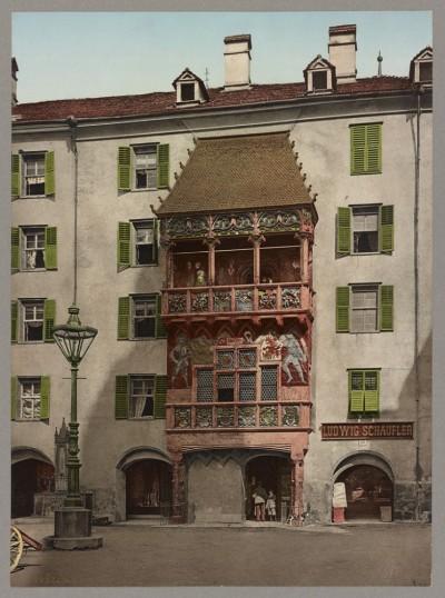Detalj iz starog Insbruka s kraja XIX veka, Austrija: Innsbruck das Goldene Dachl