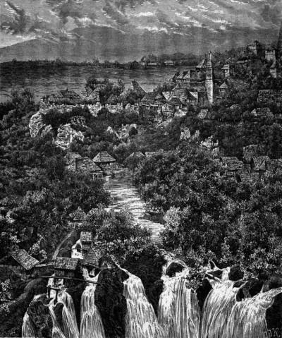 Jajce, vodopad. Crtež iz II. polovine XIX v.