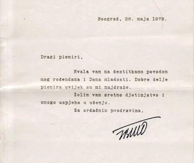 Josip Broz Tito, svojeručni potpis iz 1978. god.