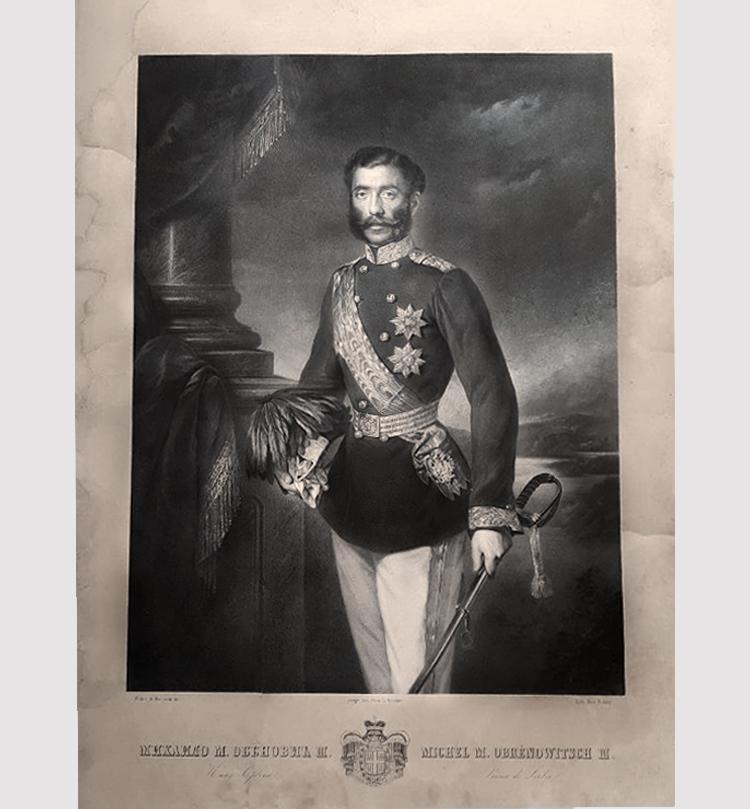 Mihailo Obrenović. Litografija Anastasa Jovanovića