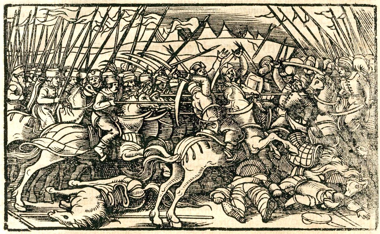 Konjica u borbi - Ilustr. iz knjige Turska hronika (1577)