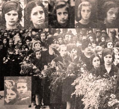 Lica đaka u Splitu koji nose cveće i vence na kovčeg kralja Aleksandra 1934. godine