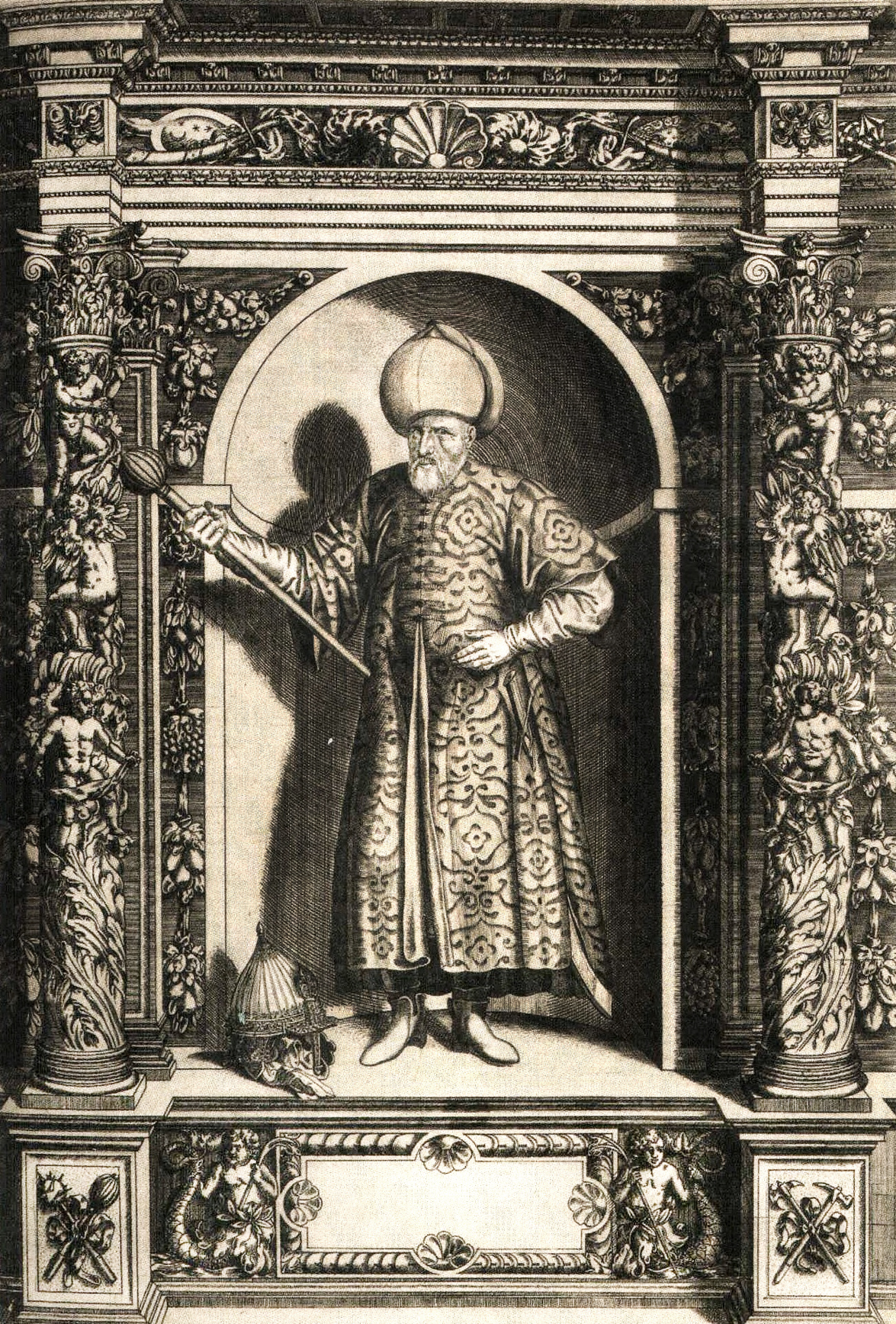 Mehmed Paša Sokolović, ilustracija iz 1601. Augustissimorum imperatorium ...., Innsbruck 1601