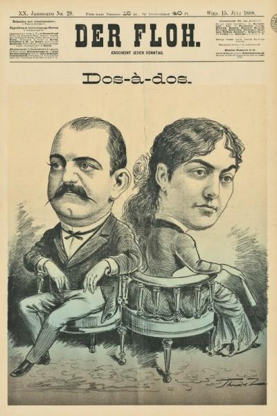 Kralj Milan i kraljica Natalija. Karikatura u novinama -Der Floh- iz 1888
