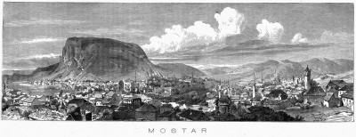 Mostar, panorama, Hercegovina, gravira iz XIX veka