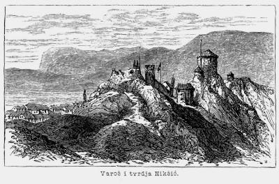 Stari Nikšić, varoš i tvrđava. Crtež iz druge polovine XIX v.