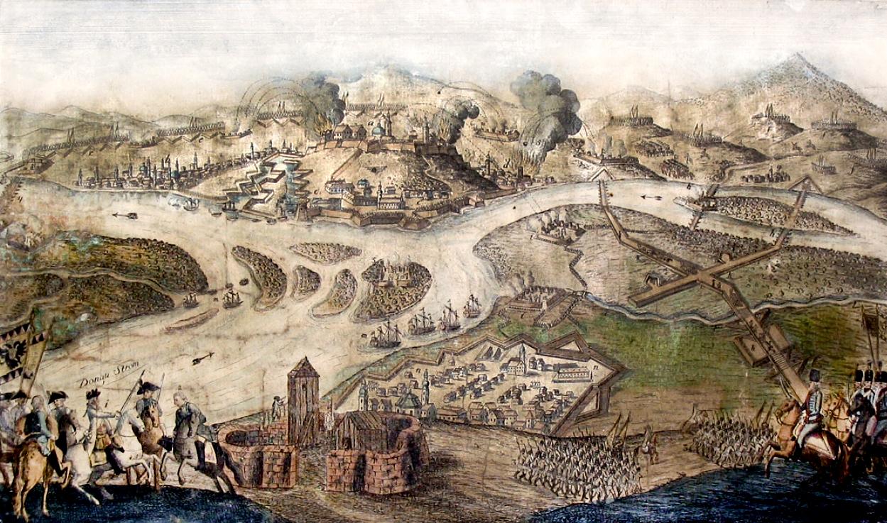 Austrijska opsada Beograda 1789. godine. Bakrorez u boji iz XVIII veka