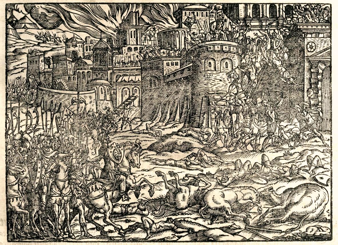Opsada gradskih zidina prikazana u Turskoj hronici iz 1577. god.
