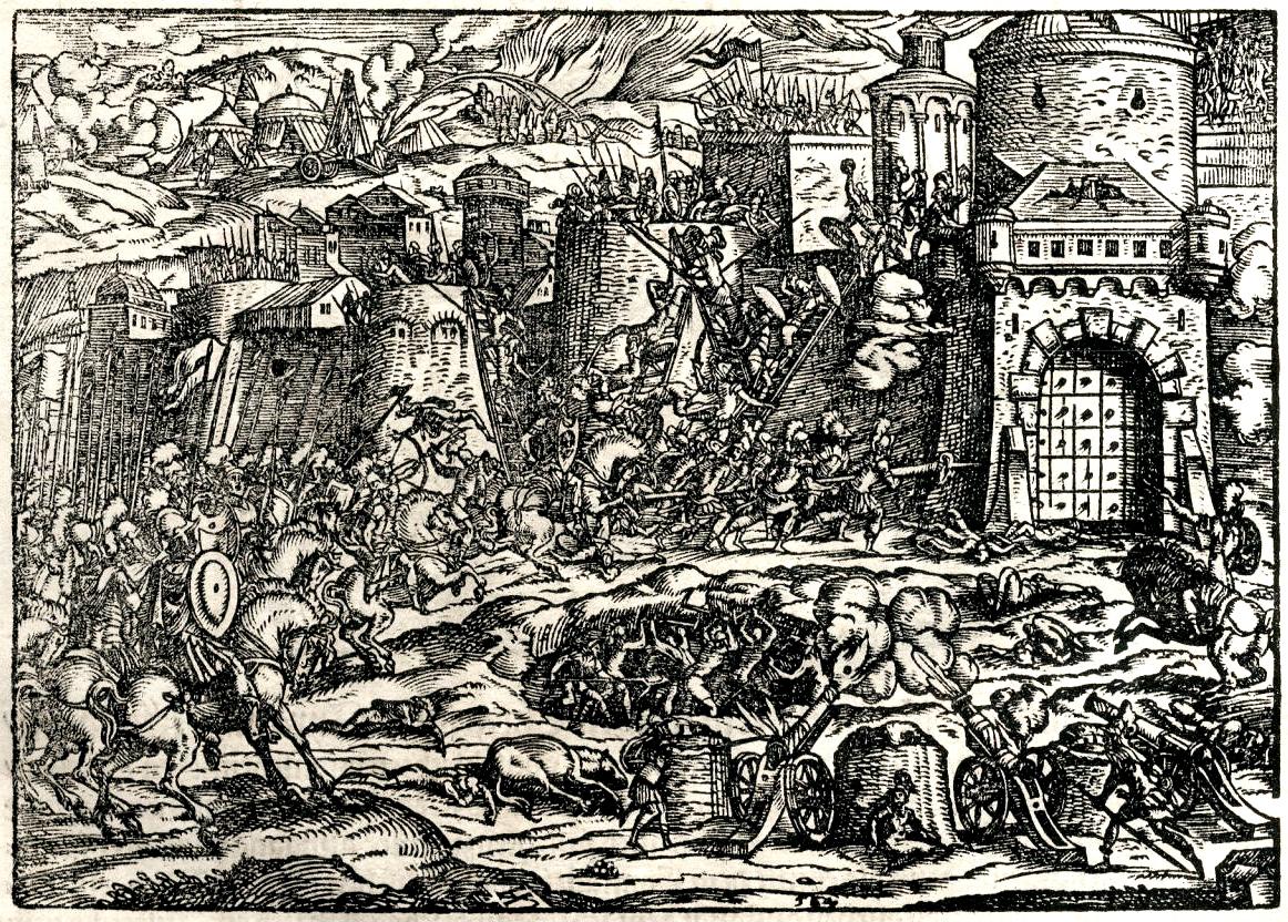 Prikaz srednjovekovne opsade. Ilustracija iz knjige: Turska hronika, Frankfurt 1577