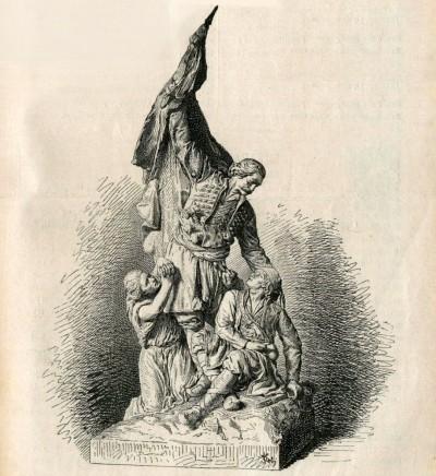 Oslobodilac. Skulptura vajara Petra Ubavkića (1850-1910). Crtež iz 1882. god.