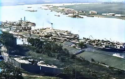 Pogled na reku i pristanište u Beogradu 1919. god.
