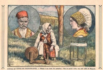 Prizori iz kraljevine Jugoslavije: glava Srbina, lepa kapa iz Beograda, predenje na kolu