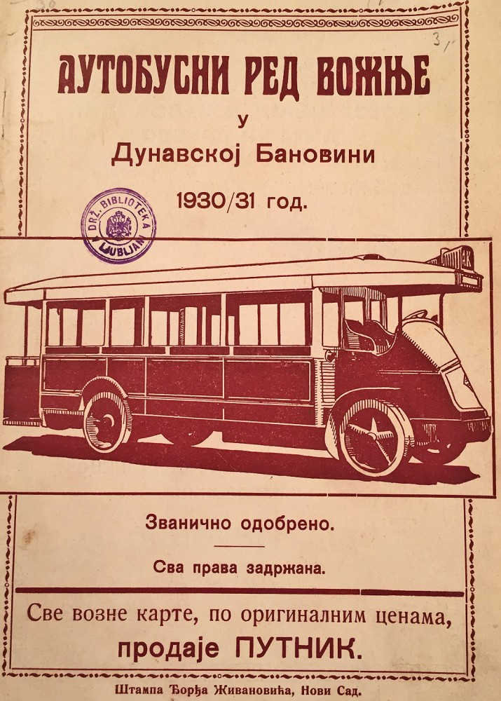 Autobuski red vožnje u Dunavskoj banovini 1930/1931