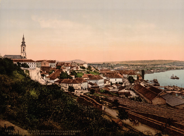 Saborna crkva i Beogradska luka. Pogled sa Kalemegdana 1890. god. (HQ)