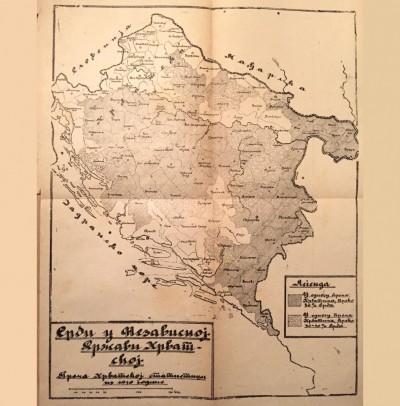 Srbi u Nezavisnoj državi Hrvatkoj prema hrvatskoj statistici iz 1910. god. Karta iz knjige: Hrvati u svetlosti istoriske istine - Psunjski (1944)