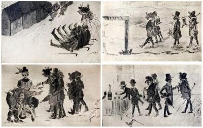Crteži Stevana Sremca. Ilustracije za knjigu - Bal u Elemiru -