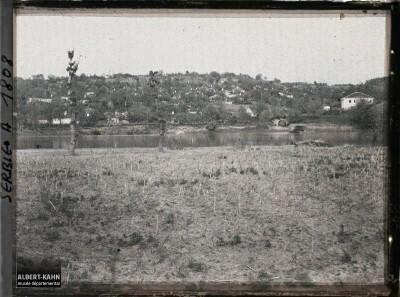 Pogled na Stalać sa rekom Moravom u prvom planu, 1913. god.
