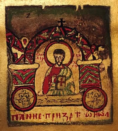 Sv. Luka, detalj iz Miroslavljevog jevanđelja (ručni rad, kombinovana tehnika) Ⓒ Filip Tomašević