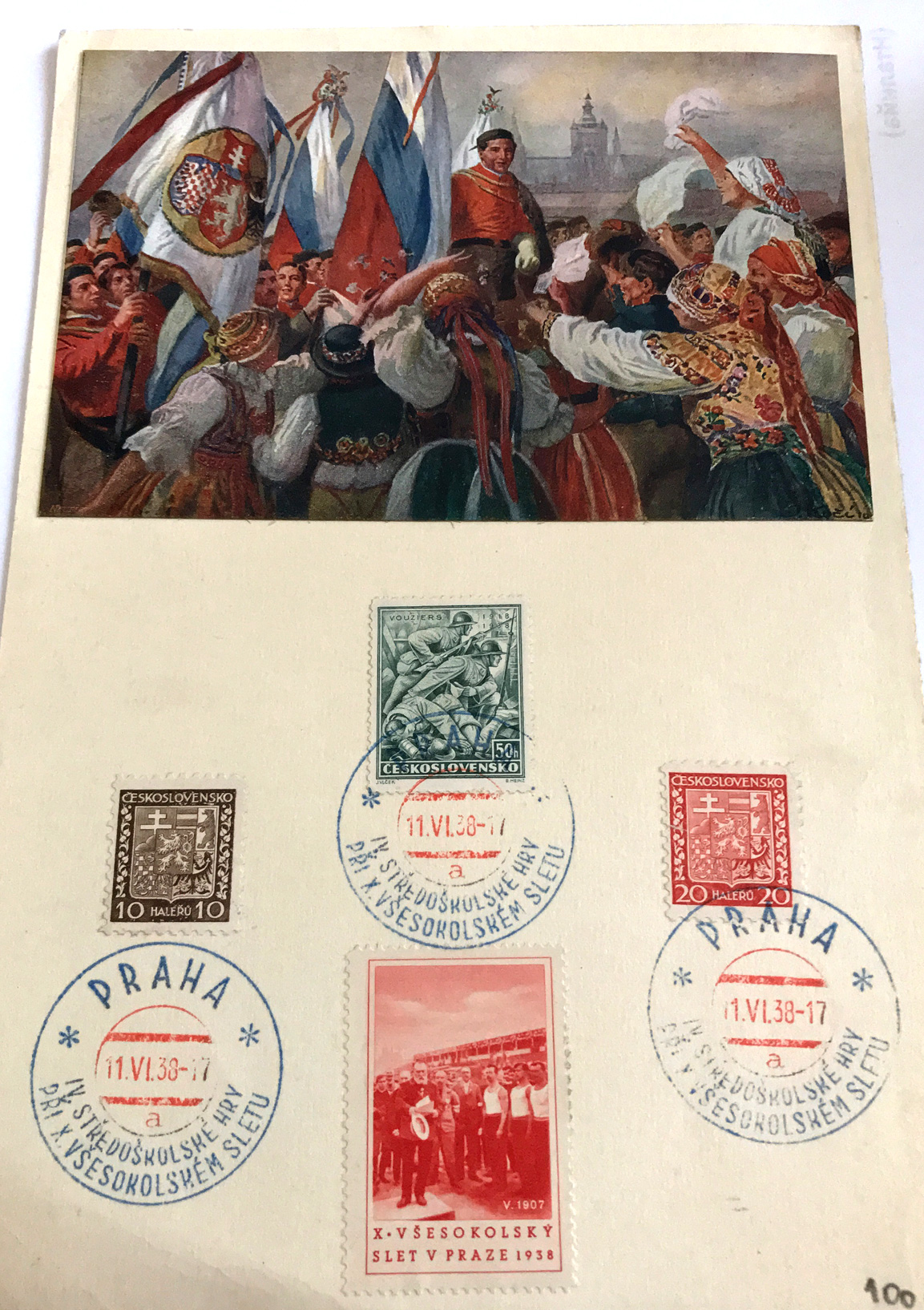Svesokolski slet, Prag 1938, razglednica sa markicama (od saradnika Antonello Razza)