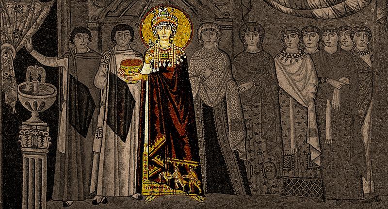 Carica Teodora sa njenom svitom. Mozaik, crkva San Vitale u Raveni (547. god.)