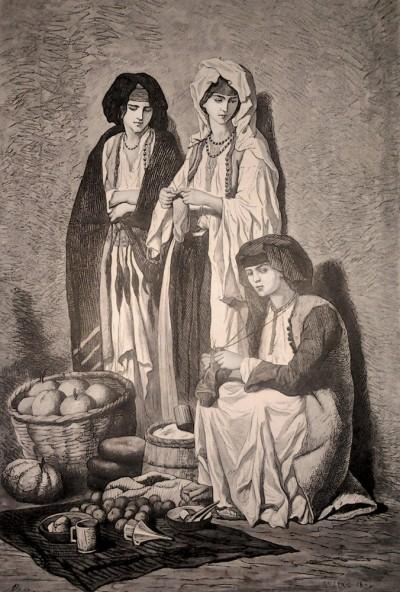 Crnogorke na cetinjskoj pijaci. Cetinje (1876)