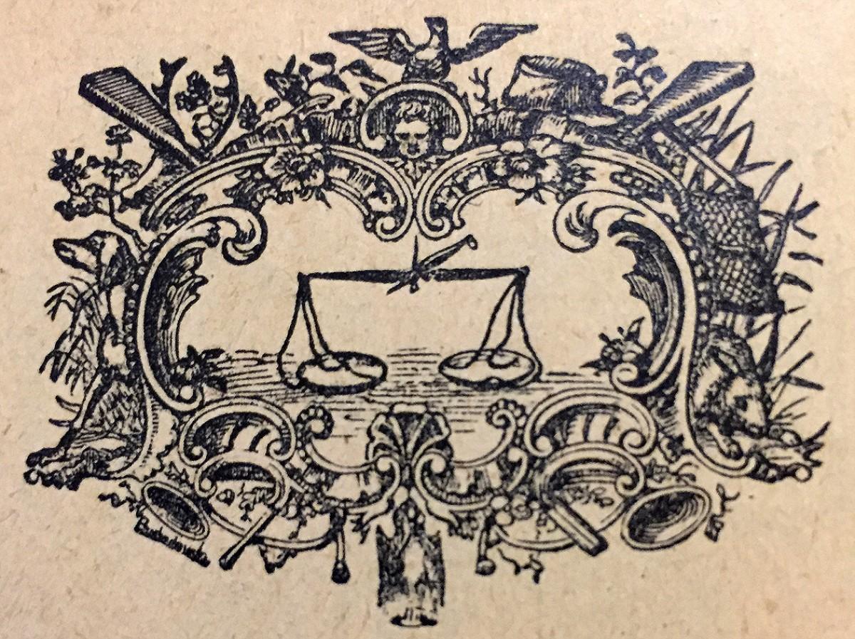 Vaga ili Terazije, horoskopski znak. Vinjeta iz kalendara za 1914.